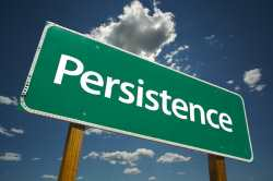 "Road sign saying ""persistence"""