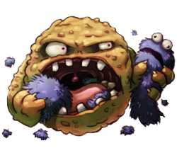 Zombie Cookie tearing lumps out of Cookie Monster
